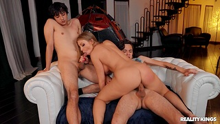 Two boys enjoy Britney Amber's tremendous sexual energy