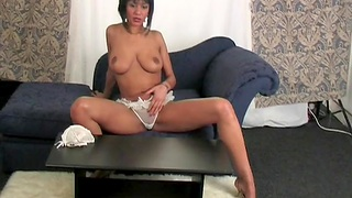 Home alone Evey films herself while riding a dildo on the sofa