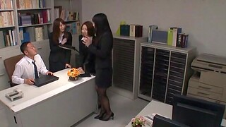 Lucky man gets his dig up pleasured wits three chap-fallen Japanese coworkers