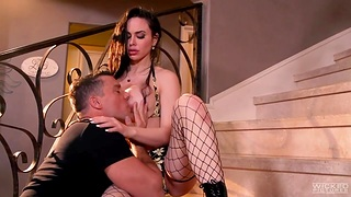 Fake tittied slut in all directions fishnet stockings Jessica Drill-hole takes cumshots in all directions mouth