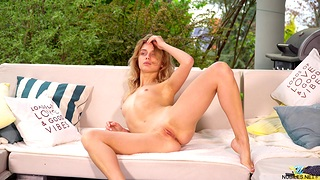 Small boobs amateur Clarise takes off her clothes on touching play in outdoors