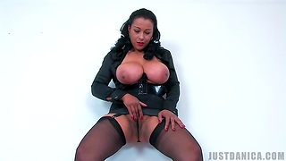 Frying mature Danica Collins enjoys bringing off with her large boobs