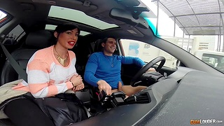 Spanish hooker gives a blowjob adjacent to a car and rides fixed cock indoor