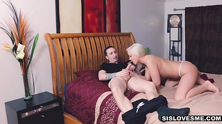 Brother teaches stepsister Cleo Xantippe how to give a approving blowjob