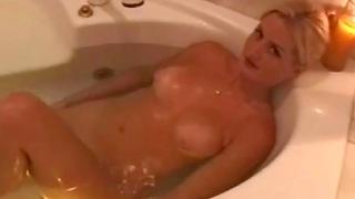 Spectacular Babe In The Bathtub Handjob Fun And cumshot