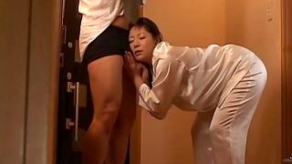 Cum in mouth mesh quickie fucking less Japanese wife Ayane Asakura