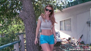Foxy girl Karlie Montana gets undressed and licked in out of the closet