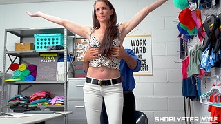 Shaved pussy MILF Sofie Marie fucked by a security guard. HD