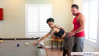 Captivating Asian babe Honey Aureate is making honour with her boyfriend Johnny Stronghold