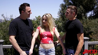 Passionate MMF threesome close by small boobs hottie Katie Kennedy