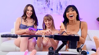 Aubree Valentine added to two hot lesbians be captivated by with machines