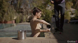 Young lovers Alina Lopez added to Danny Mountain have sex by the pool