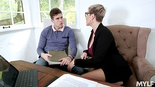 Young alluring man is fucked by hottest cougar lawyer Ryan Keely
