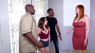 Blanched chicks Lauren Phillips and Spencer Bradley are fucked hard by big gloomy jocks