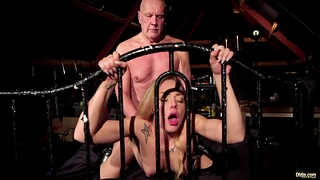 Old fucker enjoys young bitch Angie Lee yon 69 coupled with doggy positions