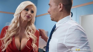 Buxom cougar in the matter of red quake Brittany Andrews is fucked in the matter of the office