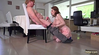 Old man fucks pretty young chick Antonia Sainz right on the table